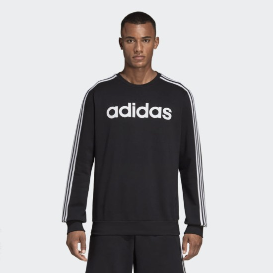 adidas Essential 3 Stripes Crew Sweat Black
