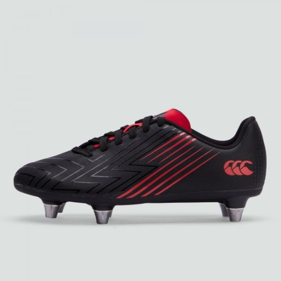 Canterbury Speed 3 Junior Soft Ground Rugby Boots Black / Red
